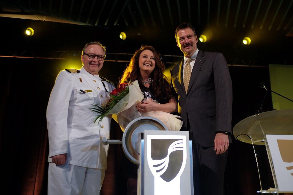 Seabourn Encore Taufe Captain Mark Dexter, Sarah Brightman, Rick Meadows