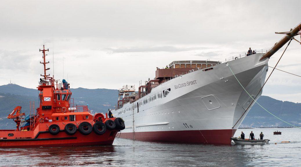 Stapellauf der Sea Cloud Spirit in Vigo am 27. Oktober